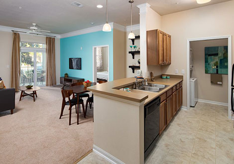 Abberly at West Ashley - Kitchen and Living Room